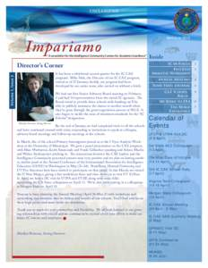 "UNCLASSIFIED  Impariamo "" A newsletter for the Intelligence Community Centers for Academic Excellence"""