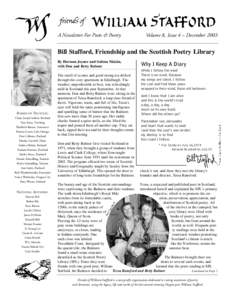 A Newsletter For Poets & Poetry  Volume 8, Issue 4 – December 2003 Bill Stafford, Friendship and the Scottish Poetry Library By Hermon Joyner and Sulima Malzin,