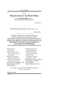 NoIn the Supreme Court of the United States HELSINN HEALTHCARE S.A., Petitioner,