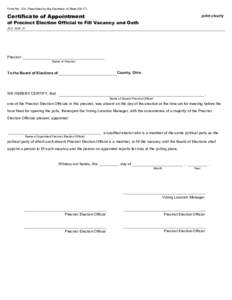 Certificate of Appointment of Precinct Election Official to Fill Vacancy and Oath - Form 104