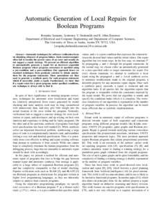 Automatic Generation of Local Repairs for Boolean Programs Roopsha Samanta, Jyotirmoy V. Deshmukh and E. Allen Emerson Department of Electrical and Computer Engineering and Department of Computer Sciences, The University