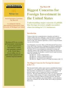 Tip Sheet #8  Social Enterprise Associates Tip Sheet #8 Co-authored with the International Transactions Clinic