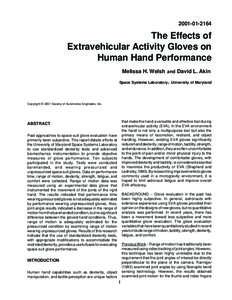 The Effects of Extravehicular Activity Gloves on Human Hand Performance Melissa H. Welsh and David L. Akin