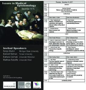 Issues in Medical Epistemology December 14-16, Thursday - December 14,