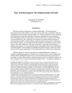 Animuswww.swgc.mun.ca/animus  Kant And Kierkegaard: The Subjectivization Of Faith Antoinette M. Stafford
