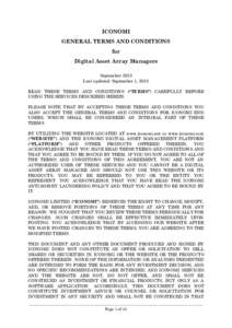 ICONOMI GENERAL TERMS AND CONDITIONS for Digital Asset Array Managers