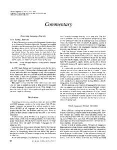 Human Organization, Vol. 51, No. 1, 1992 Copyrightby the Society for Applied Anthropology$Commentary Preserving Language Diversity
