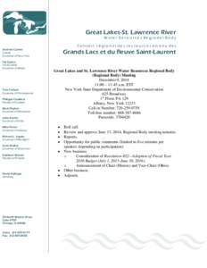 Great Lakes-St. Lawrence River Water Resources Regional Body ConseiI régional des ressources en eau des Grands Lacs et du fleuve Saint-Laurent