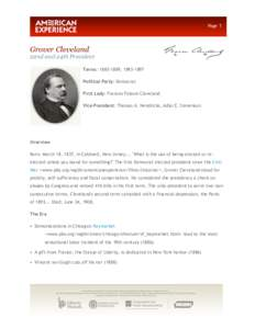 Page 1  Grover Cleveland 22nd and 24th President Terms: [removed], [removed]