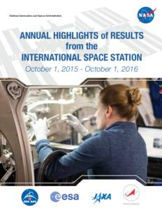 National Aeronautics and Space Administration  ANNUAL HIGHLIGHTS of RESULTS from the INTERNATIONAL SPACE STATION October 1, October 1, 2016