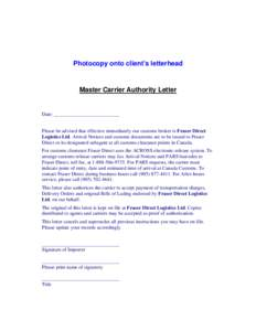 Master Carrier Authority Letter