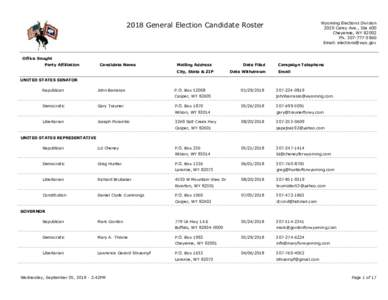 2018 General Election Candidate Roster  Wyoming Elections Division 2020 Carey Ave., Ste 600 Cheyenne, WYPh