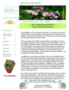 Boca Raton Orchid Society  February, 2011 Volume 25, Issue 2  The Orchid Sentinel