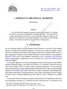 Proc. Int. Cong. of Math. – 2018 Rio de Janeiro, Vol–802) D-MODULES IN BIRATIONAL GEOMETRY Mihnea Popa