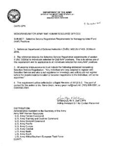 DEPARTMENT OF THE ARMY OFFICE OF THE DEPUTY CHIEF OF STAFF, GPENTAGON WASHINGTON DCDAPE-CPN