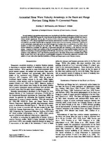 JOURNAL OF GEOPHYSICAL  RESEARCH, VOL. 98, NO. B7, PAGES 12,003-12,017, JULY 10, 1993 Azimuthal ShearWave Velocity Anisotropyin the Basin and Range ProvinceUsing Moho Ps ConvertedPhases