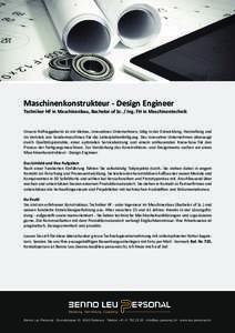 Maschinenkonstrukteur - Design Engineer