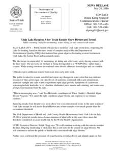 NEWS RELEASE July 28, 2016 Department of Environmental Quality Alan Matheson