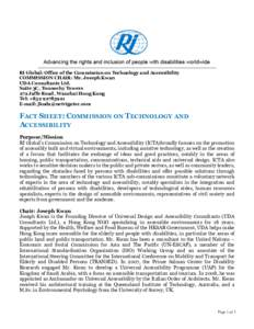 RI Global: Office of the Commission on Technology and Accessibility COMMISSION CHAIR: Mr. Joseph Kwan UDA Consultants Ltd. Suite 3C, Tonnochy Towers 272 Jaffe Road, Wanchai Hong Kong Tel: +