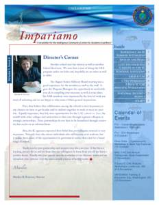 "UNCLASSIFIED  Impariamo Volume 1, Issue 4  "" A newsletter for the Intelligence Community Centers for Academic Excellence"""