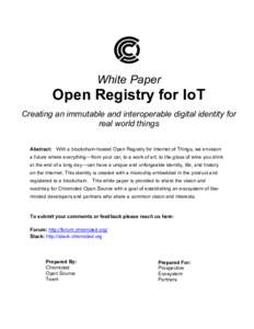 White Paper  Open Registry for IoT Creating an immutable and interoperable digital identity for
