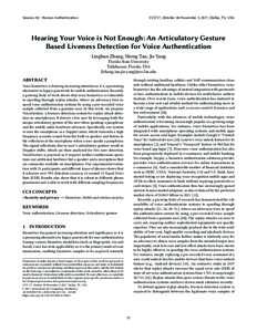 Hearing Your Voice is Not Enough: An Articulatory Gesture Based Liveness Detection for Voice Authentication