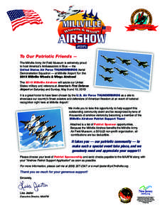s First Defens America' e Airport To Our Patriotic Friends — ­ The Millville Army Air Field Museum is extremely proud