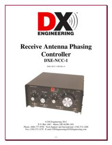 Receive Antenna Phasing Controller DXE-NCC-1 DXE-NCC-1-INS Rev 6  © DX Engineering 2012