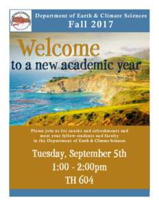 Department of Earth & Climate Sciences  Fa ll 2017 Welcome