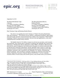 September 26, 2018 The Honorable Michael Crapo Chairman U.S. Senate Committee on Banking, Housing, and Urban Affairs 534 Dirksen Senate Office Building