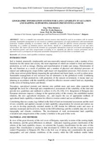 """Second European SCGIS Conference """"Conservation of Natural and Cultural Heritage for Sustainable Development: GIS-Based Approach"""" 2013  GEOGRAPHIC INFORMATION SYSTEM FOR LAND CAPABILITY EVALUATION"""