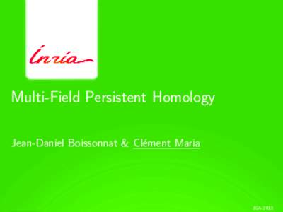 Multi-Field Persistent Homology Jean-Daniel Boissonnat & Cl´ement Maria JGA 2013  1Introduction