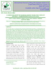 International Journal of Drug Development & Research | April-June 2010 | Vol. 2 | Issue 2 | ISSNAvailable online http://www.ijddr.com ©2010 IJDDR Full Length Research Paper