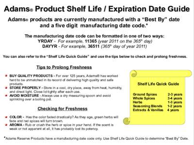 Shelf Life Guide Shelf Life Guide This guide is to be used as a reference to determine whether or not products are nearing or past the date that they may be safely consumed. Food products are dated in three ways. 1. SllSell By Date ‐The SllSell By Date didetermines how long a store.