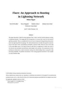 Flare: An Approach to Routing in Lightning Network White Paper Pavel Prihodko*  Slava Zhigulin*
