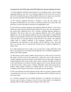 Microsoft Word - Louisiana Code of Civil Procedure article 966.doc