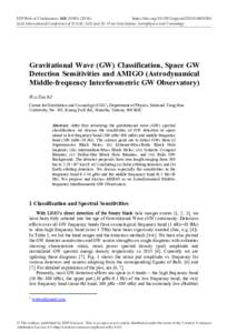 EPJ Web of Conferences 168, )	https://doi.orgepjconfJoint International Conference of ICGAC-XIII and IK-15 on Gravitation, Astrophysics and Cosmology Gravitational Wave (GW) Classificati