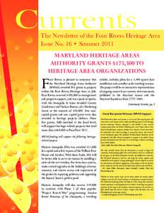 Currents  The Newsletter of the Four Rivers Heritage Area Issue No. 16 • Summermaryland heritage areas
