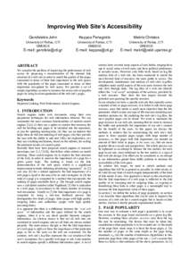Improving Web Site's Accessibility Garofalakis John Kappos Panagiotis  Makris Christos