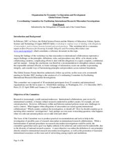 Organisation for Economic Co-Operation and Development Global Science Forum Co-ordinating Committee for Facilitating International Research Misconduct Investigations Final Report Submitted by the Delegations of Canada an