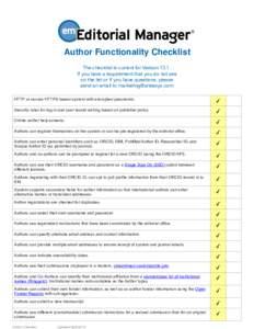 !  Author Functionality Checklist The checklist is current for VersionIf you have a requirement that you do not see