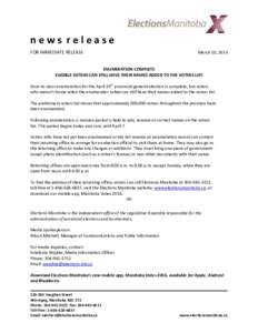news release FOR IMMEDIATE RELEASE March 10, 2016  ENUMERATION COMPLETE