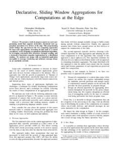 Declarative, Sliding Window Aggregations for Computations at the Edge Christopher Meiklejohn Seyed H. Haeri (Hossein), Peter Van Roy