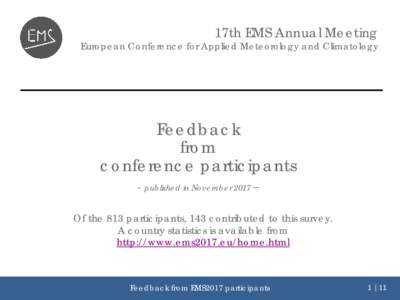 17th EMS Annual Meeting  European Conference for Applied Meteorology and Climatology Feedback from