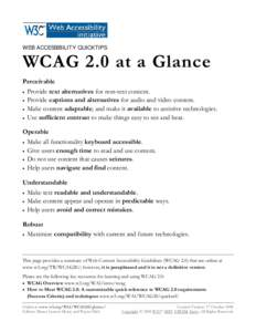 Web Accessibility: WCAG 2.0 at a Glance