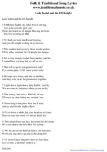 Folk & Traditional Song Lyrics - Lady Isabel and the Elf-Knight