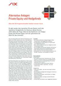Alternative Anlagen: Private Equity und Hedgefonds Aktuelle Finanzthemen