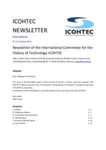 ICOHTEC NEWSLETTER www.icohtec.org No 114, OctoberNewsletter of the International Committee for the