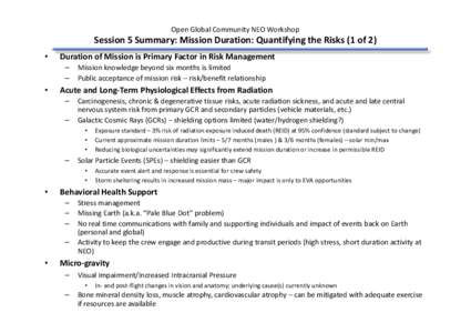 Open Global Community NEO Workshop  Session 5 Summary: Mission Duration: Quantifying the Risks (1 of 2) • Duration of Mission is Primary Factor in Risk Management – Mission knowledge beyond six months is limited –
