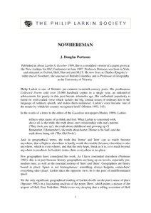 NOWHEREMAN J. Douglas Porteous Published in About Larkin 8, October 1999, this is a modified version of a paper given at